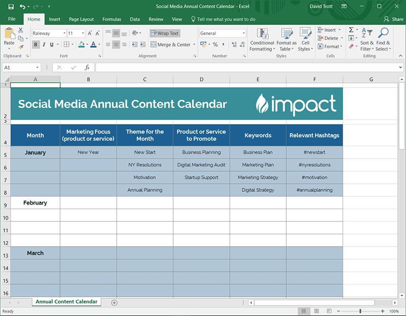 Social Media Annual Content Calendar